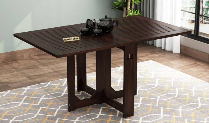 Paul Foldable Dining Table (Walnut Finish)-1