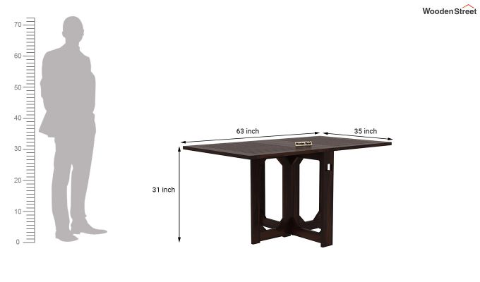 Paul Foldable Dining Table (Walnut Finish)-12