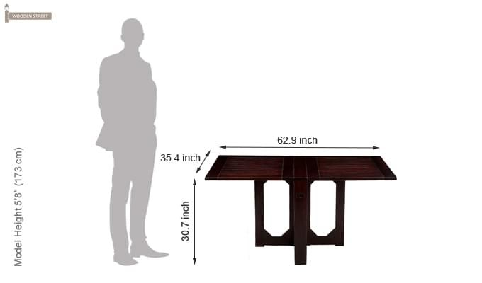 Paul Foldable Dining Table (Mahogany Finish)-10