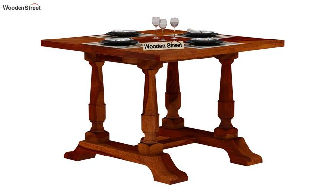 Redigo 2 Seater Dining Table (Honey Finish)-2