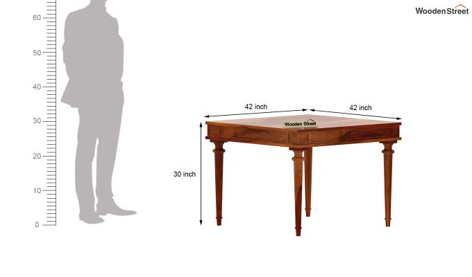 Rover 4 Seater Dining Table (Honey Finish)-6