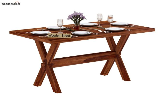 Waltz 6 Seater Dining Table (Teak Finish)-2