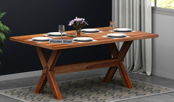 Waltz 6 Seater Dining Table (Teak Finish)-1