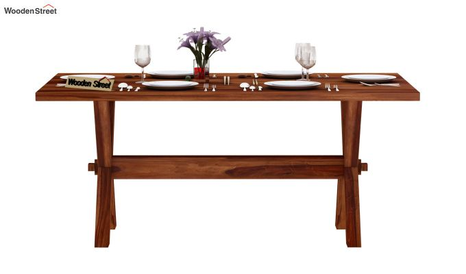 Waltz 6 Seater Dining Table (Teak Finish)-3