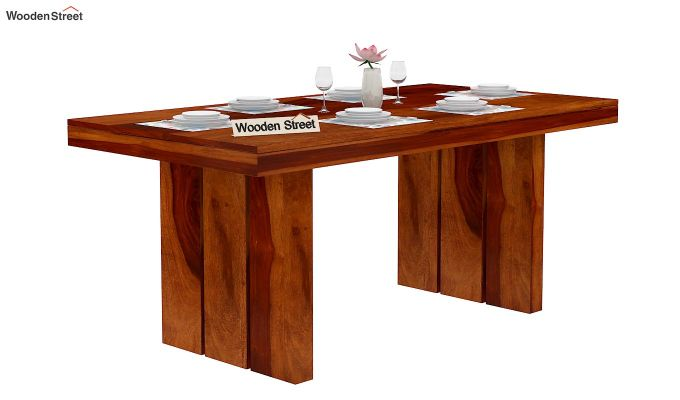 Wertex 6 Seater Dining Table (Honey Finish)-2