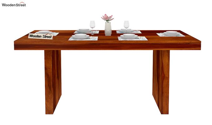 Wertex 6 Seater Dining Table (Honey Finish)-3
