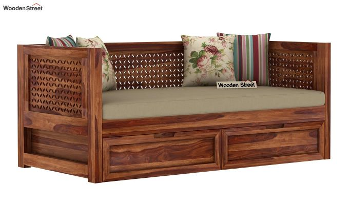 Angelica Divan With Storage (Teak Finish)-2