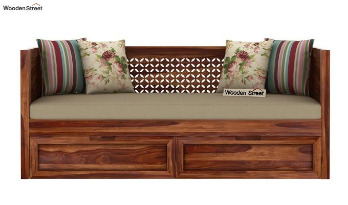 Angelica Divan With Storage (Teak Finish)-3