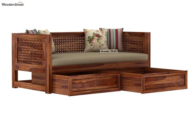 Angelica Divan With Storage (Teak Finish)-4