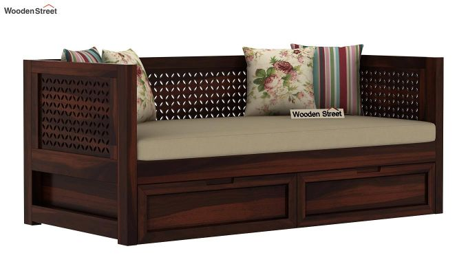 Angelica Divan With Storage (Walnut Finish)-2