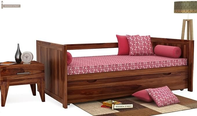 Baldina Trundle Bed (Teak Finish)-1
