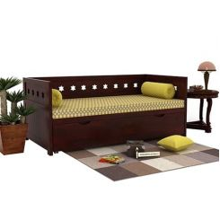 Swayze Divan With Storage (Mahogany Finish)