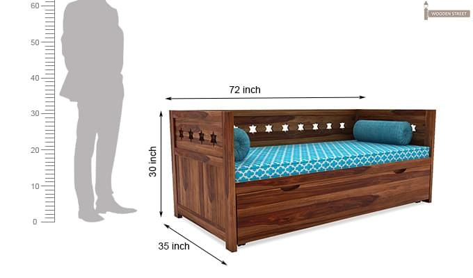 Swayze Divan With Storage (Teak Finish)-7