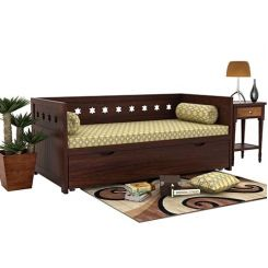 Swayze Divan With Storage (Walnut Finish)