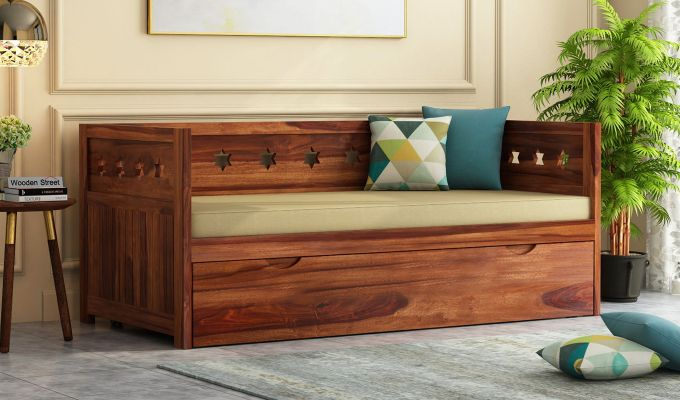 Swayze Divan With Storage (Teak Finish)-1