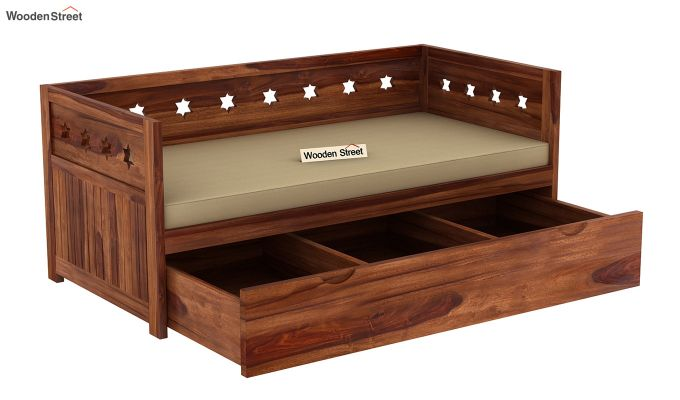 Swayze Divan With Storage (Teak Finish)-5