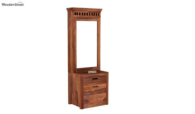 Adolph Dressing Table With Storage Stool (Honey Finish)-2