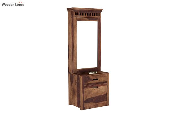 Adolph Dressing Table With Storage Stool (Teak Finish)-2