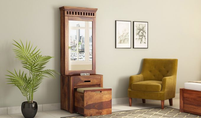 Adolph Dressing Table With Storage Stool (Teak Finish)-1
