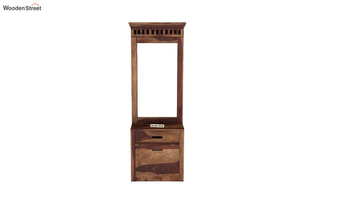 Adolph Dressing Table With Storage Stool (Teak Finish)-3
