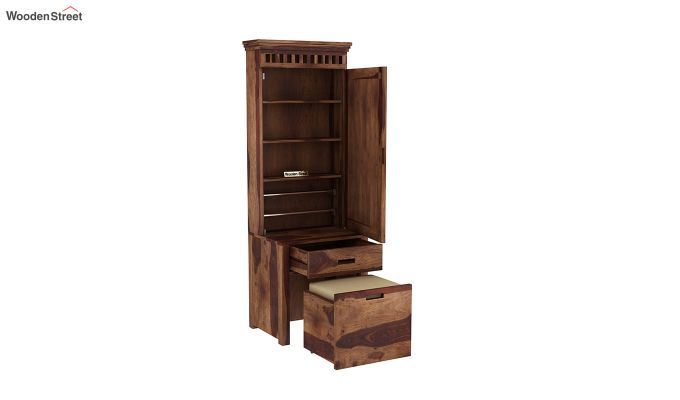 Adolph Dressing Table With Storage Stool (Teak Finish)-4