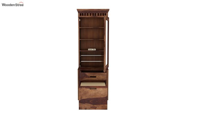 Adolph Dressing Table With Storage Stool (Teak Finish)-5