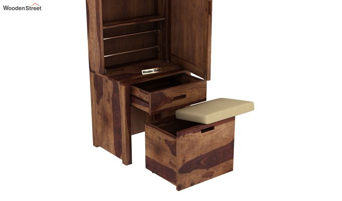 Adolph Dressing Table With Storage Stool (Teak Finish)-6