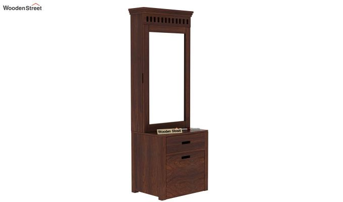 Adolph Dressing Table With Storage Stool (Walnut Finish)-1
