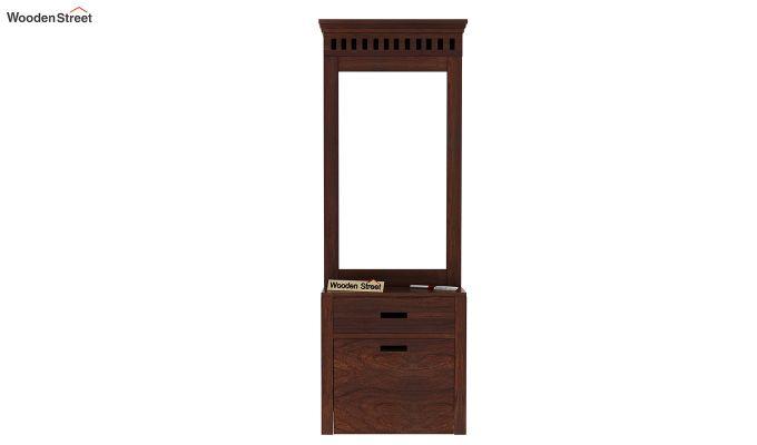 Adolph Dressing Table With Storage Stool (Walnut Finish)-2