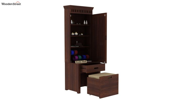 Adolph Dressing Table With Storage Stool (Walnut Finish)-4