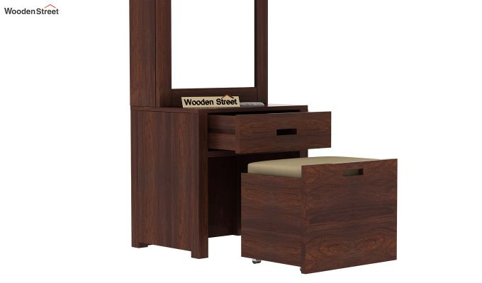 Adolph Dressing Table With Storage Stool (Walnut Finish)-3
