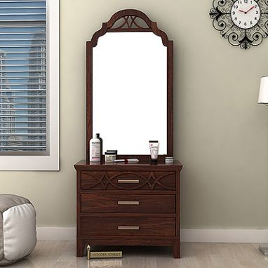 wooden dressing table with mirror and storage drawers
