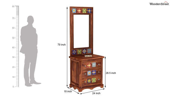 Boho Dressing Table (Honey Finish)-5