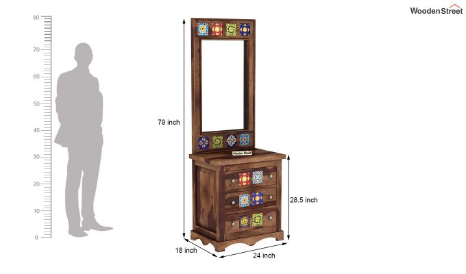 Boho Dressing Table (Teak Finish)-5