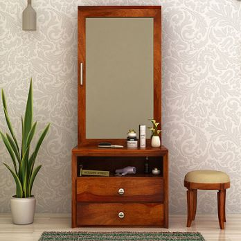 Carvel Dressing Table unit with storage behind mirror and bottom drawers and shelf