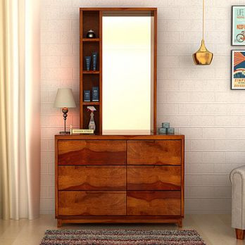 Durant dressing table with mirror and shelves on top and storage drawers on bottom