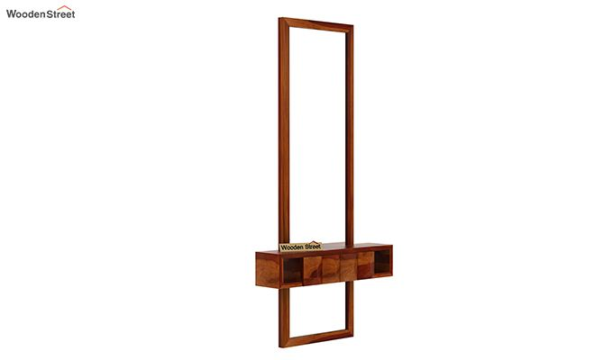 Morse Wall Mounted Dressing Table (Honey Finish)-3