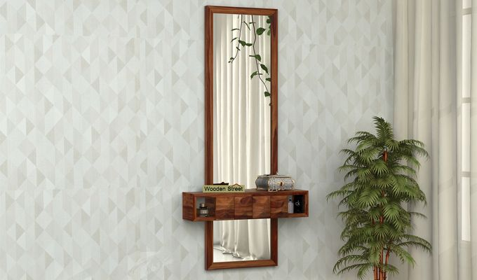 Morse Wall Mounted Dressing Table (Teak Finish)-1