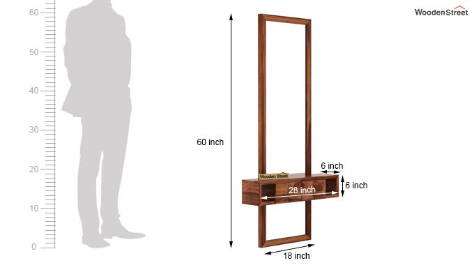 Morse Wall Mounted Dressing Table (Teak Finish)-8