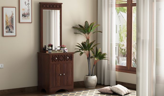 Swirl Dressing Table (Walnut Finish)-1