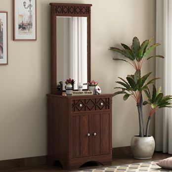 Swirl Dressing Table (Walnut Finish) with 2 drawers and cabinets for storing