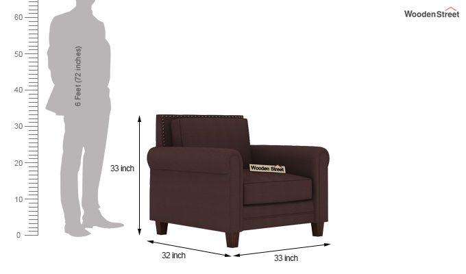 Aldean 1 Seater Fabric Sofa (Classic Brown)-3