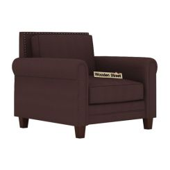 Aldean 1 Seater Fabric Sofa (Classic Brown)