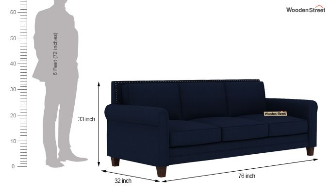 Aldean 3 Seater Fabric Sofa (Indigo Ink)-4
