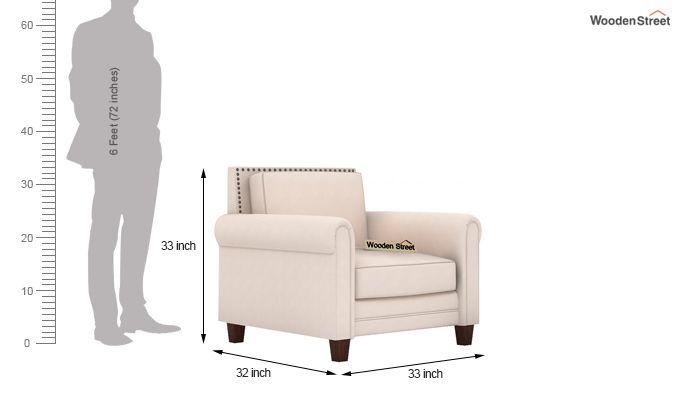 Aldean 1 Seater Fabric Sofa (Ivory Nude)-3