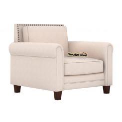 Aldean 1 Seater Fabric Sofa (Ivory Nude)