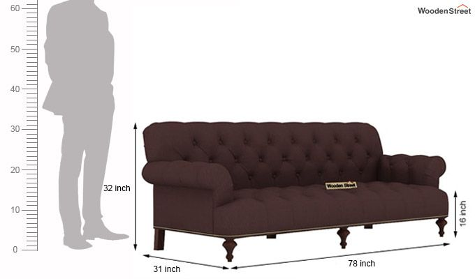 Allison 3 Seater Sofa (Fabric, Classic Brown)-4