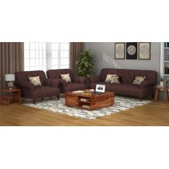 Allison 3+1+1 Fabric Sofa Set  (Classic Brown)
