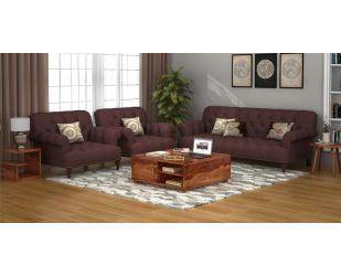 Allison 3+1+1 Fabric Sofa Set  (Classic Brown)