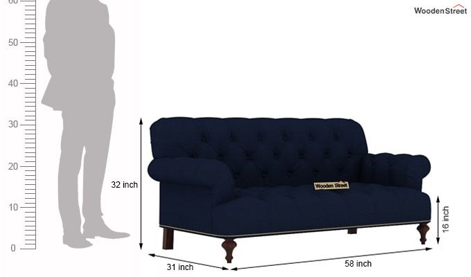 Allison 2 Seater Sofa (Fabric, Indigo ink)-3